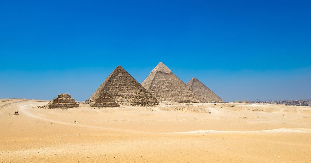 Giza Pyramid complex, consisting of 3 main pyramids, one of which is the Great Pyramid.